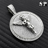 HIP HOP ICED OUT LAB DIAMOND WHITE GOLD PLATED BABY ANGEL MEDALLION PENDANT