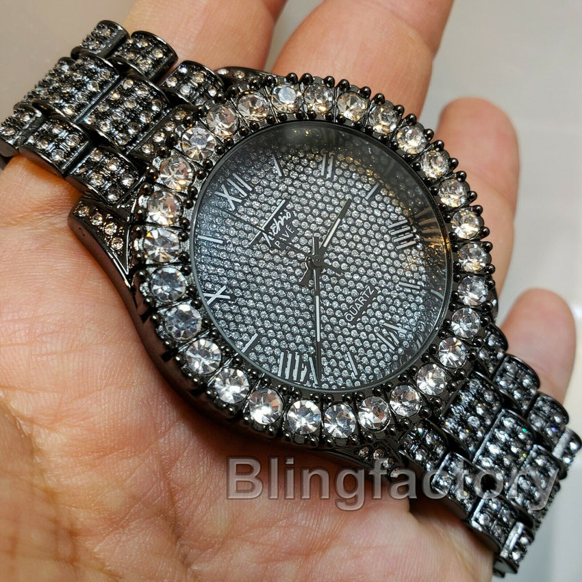 Men's Hip Hop Iced Rapper Bling BIG Simulated Diamond Black Metal Band Watch