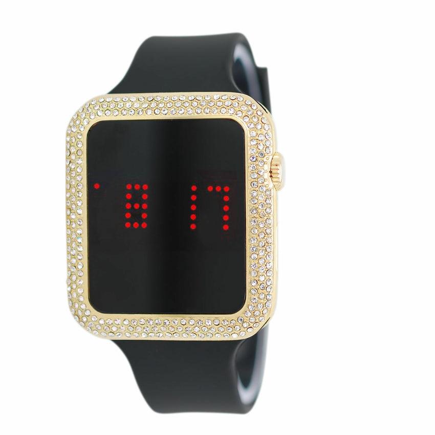 Iced Out Gold & Silver Finish Digital Smart Touch Screen Silicone Band Watch