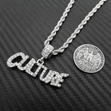 "Iced Out Silver PT Hip Hop CULTURE Pendant & 24"" Rope Chain Hip Hop Necklace"