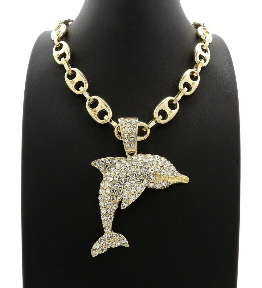 "Hip Hop Iced out YOUNG DOLPH Dolphin Pendant & 20"" 24"" 30"" Marina Chain Necklace"