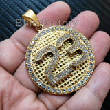 Iced out Hip Hop Stainless steel Gold Tone Number 23 Medal Charm Pendant