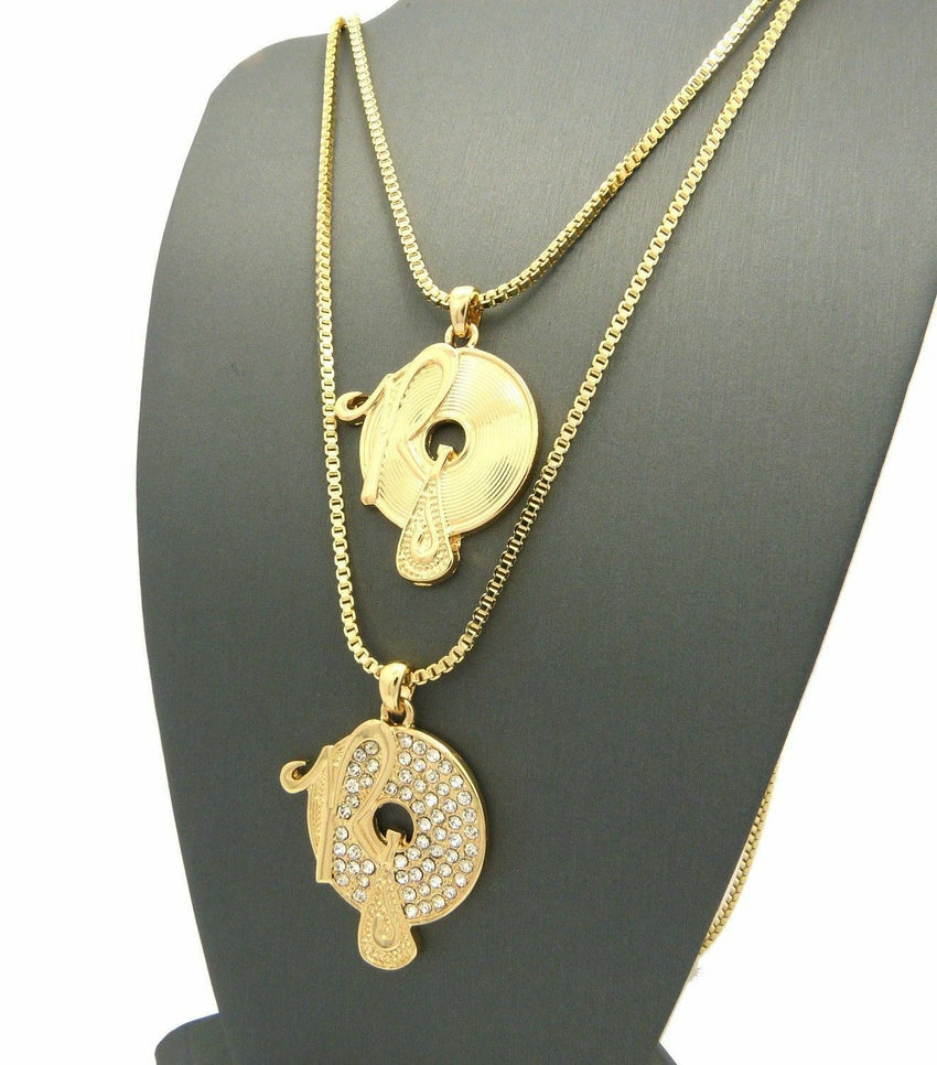 "Iced Out 2 ROCAFELLA Pendant & 2mm 24"",30"" Box Chain 2 Necklace Set"