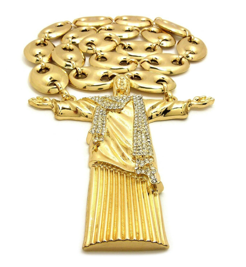 "Iced Hip Hop Big Jesus Whole Body Pendant & 23mm 30"" Hollow Marina Chain Necklace"