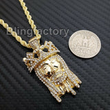 "Hip Hop Iced out Lab Diamond Crowned Jesus Drip Pendant 24"" Rope Chain Necklace"