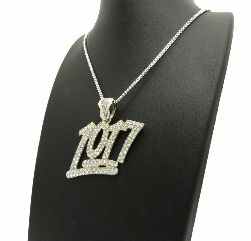 "Iced Out Rapper's Number 1017 Pendant & 24"" Box, Cuban Chain Hip Hop Necklace"