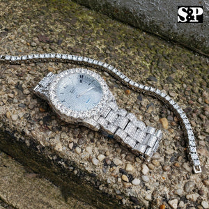 HIP HOP ICED OUT WHITE GOLD PT LUXURY WATCH & 1 ROW TENNIS CHAIN BRACELET SET