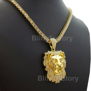 Hip Hop Iced out Lab Diamond Lion Head Pendant & 18