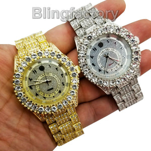 Men's Iced out Luxury Rapper's Lab Diamond Metal Band Dress Clubbing wrist Watch