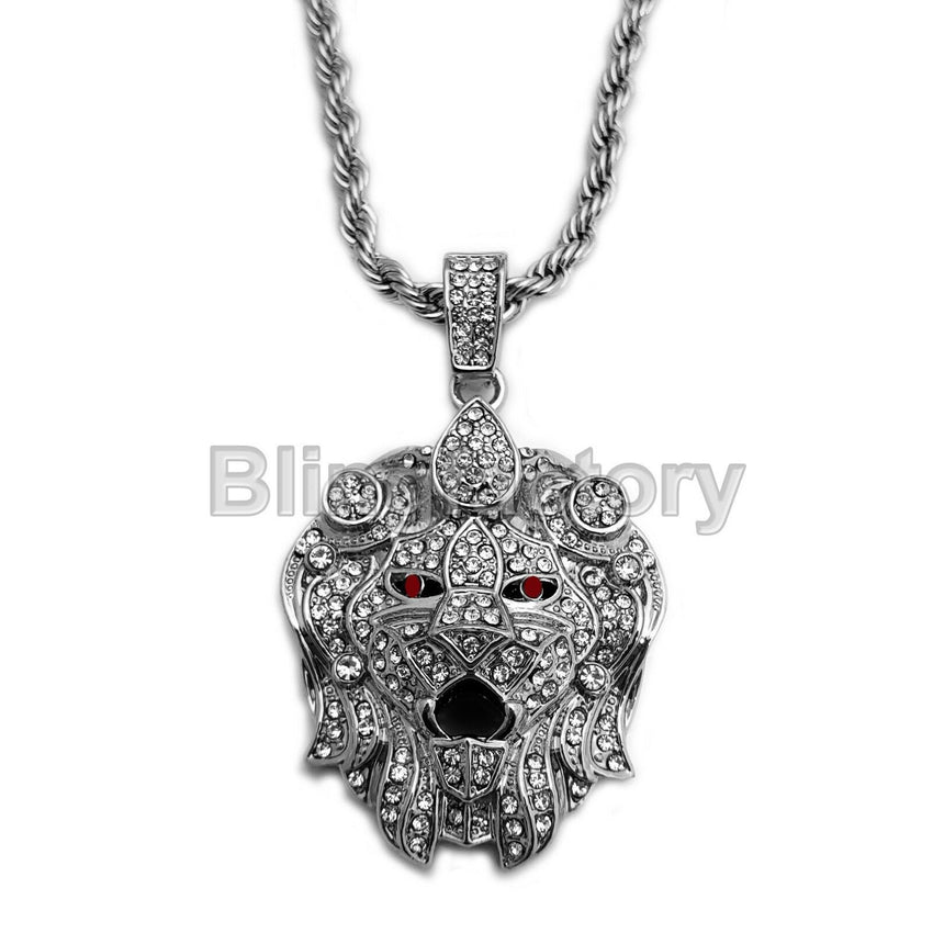 "Hip Hop Iced Out Lion Head Lab Diamond Pendant & 5mm 30"" Rope Chain Necklace"