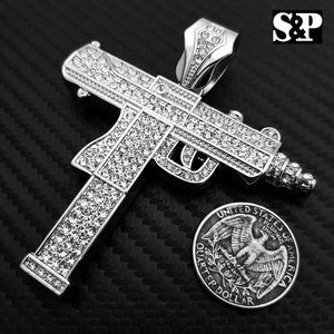 Hip Hop Rapper Iced Out Lab Diamond White Gold plated Large Machine Gun Pendant