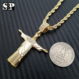 "Hip Hop Rapper Style Jesus Christ Body Cross Pendant & 24"" Rope Chain Necklace"