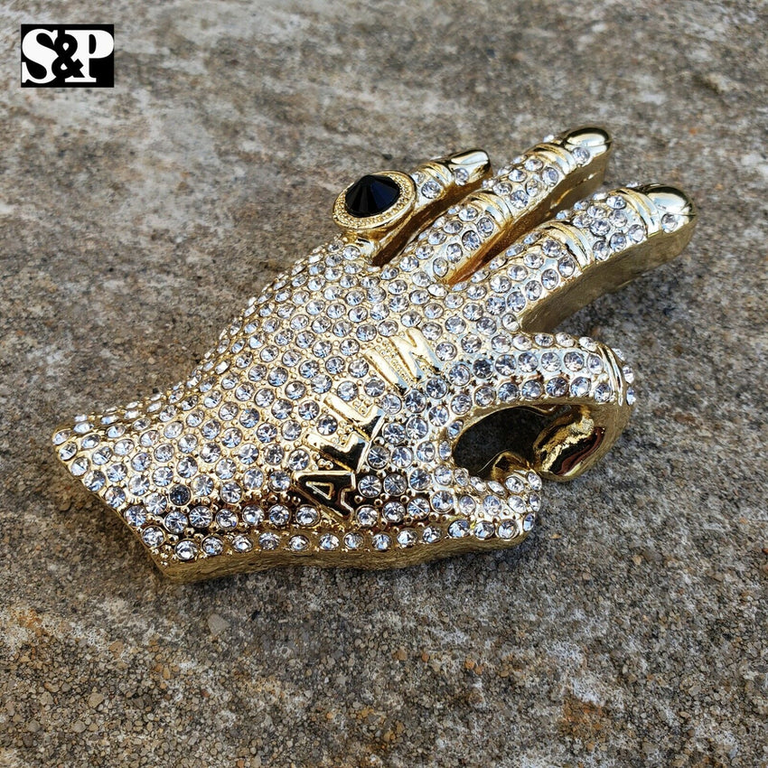 HIP HOP ICED OUT LAB DIAMOND GOLD PLATED PIMP HAND OK ALL IN PENDANT