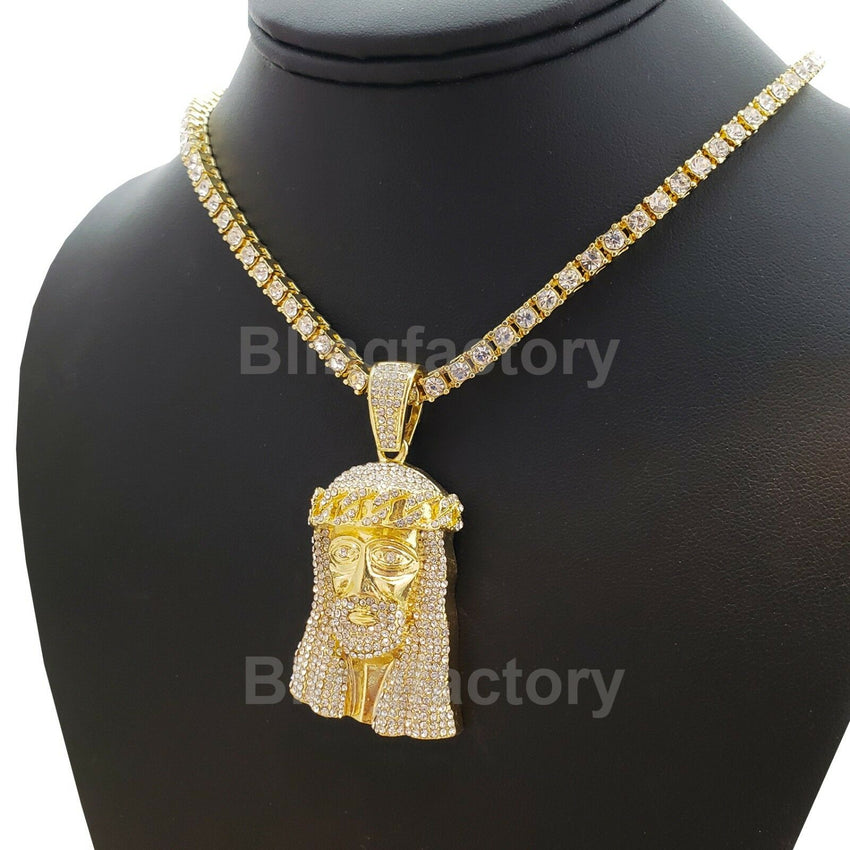 "Hip Hop Jesus Face Pendant & 18"" 1 Row Lab Diamond Tennis Choker Chain Necklace"