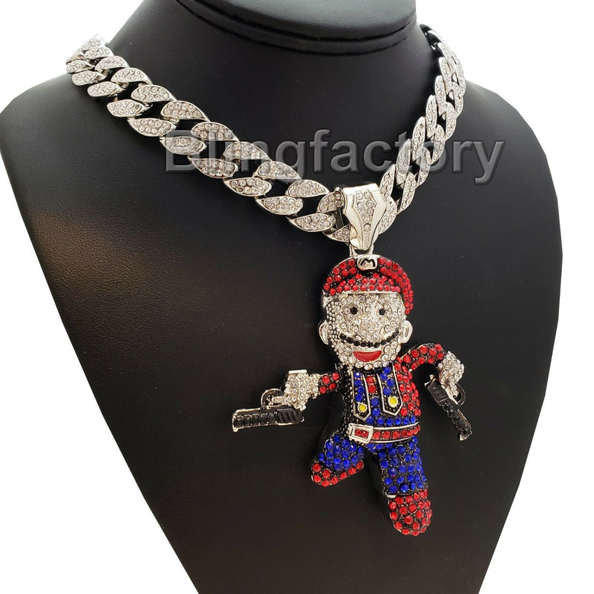 "Hip Hop Large Mario Gun Man Pendant & 18"" Iced Cuban Choker Chain Necklace"