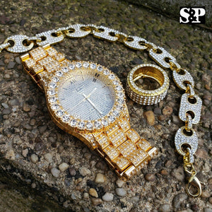 MEN HIP HOP ICED OUT LAB DIAMOND WATCH & RING & GUCCI CHAIN BRACELET COMBO SET