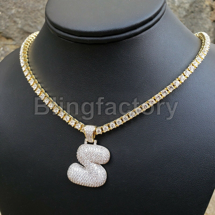 "Hip Hop Iced out Brass Bubble Letter ""S"" & 18"" 1 Row Tennis Choker Chain Necklace"