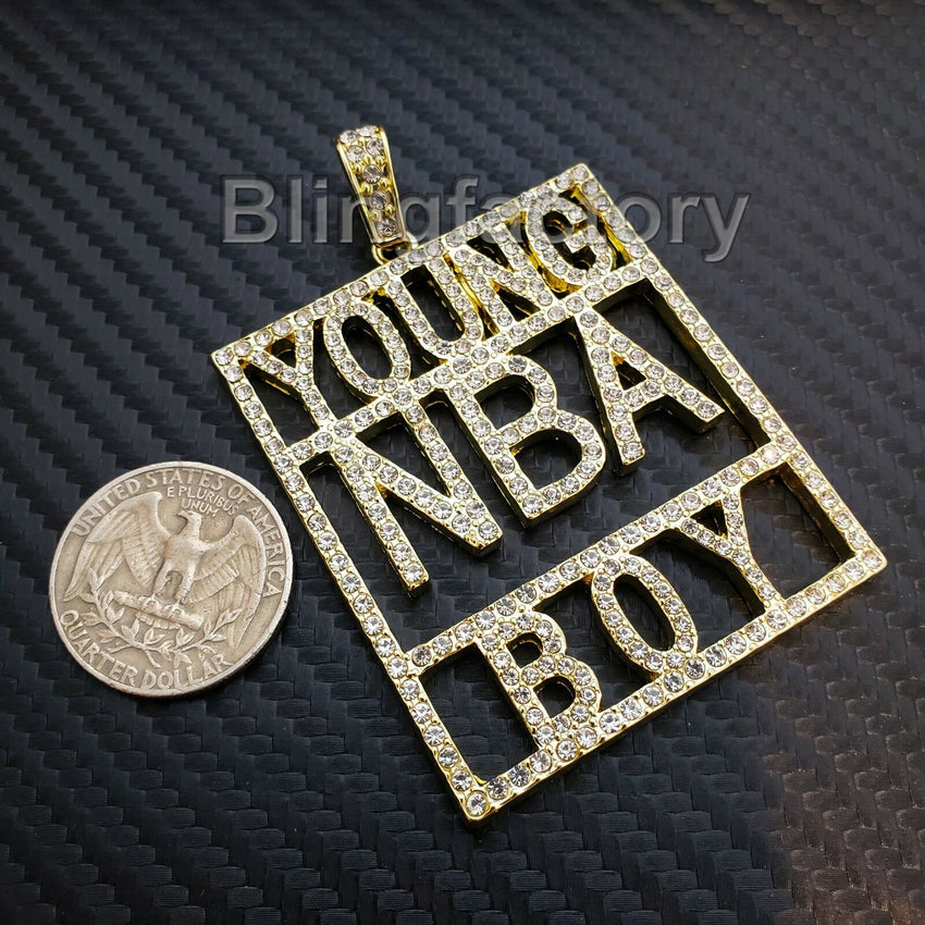 HIP HOP ICED OUT 14K GOLD PLATED BLING LAB DIAMOND LARGE YOUNG NBA BOY PENDANT