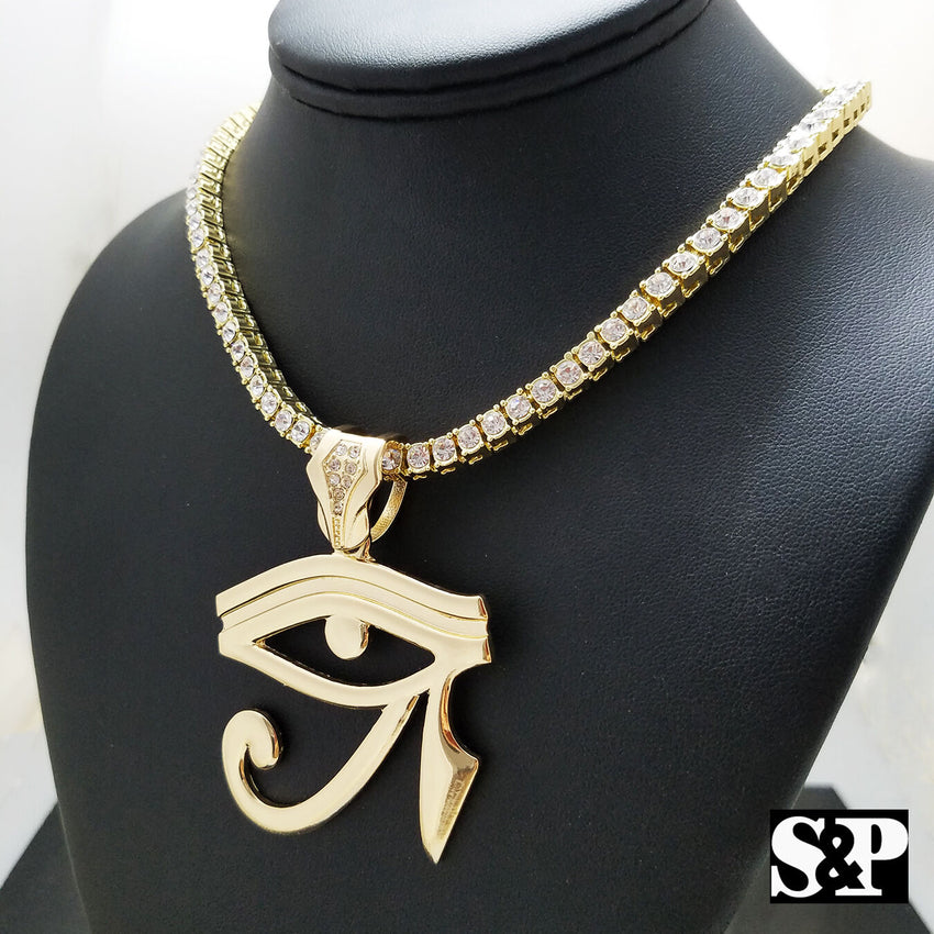 "Hip Hop Egyptian Eye of Horus & 18"" 1 ROW DIAMOND Tennis Choker Chain Necklace"