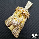 HIP HOP ICED OUT 14K GOLD PLATED BLING BRASS MICRO PAVE LARGE JESUS HEAD PENDANT