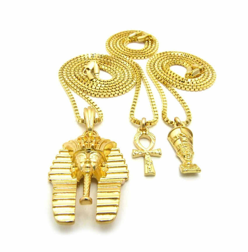 "Mini Egyptian Nefertiti, Ankh, Pharaoh Pendant 20"",24"" Box Chain 3 Necklace Set"