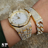 MEN'S HIP HOP GOLD PT MIGOS LAB DIAMOND WATCH & FULL ICED BRACELET COMBO SET