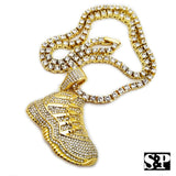 "Men 14K Gold Plated Hip Hop Gold Retro 11 Shoe Pendant & 1 Row 18"" Tennis Chain"