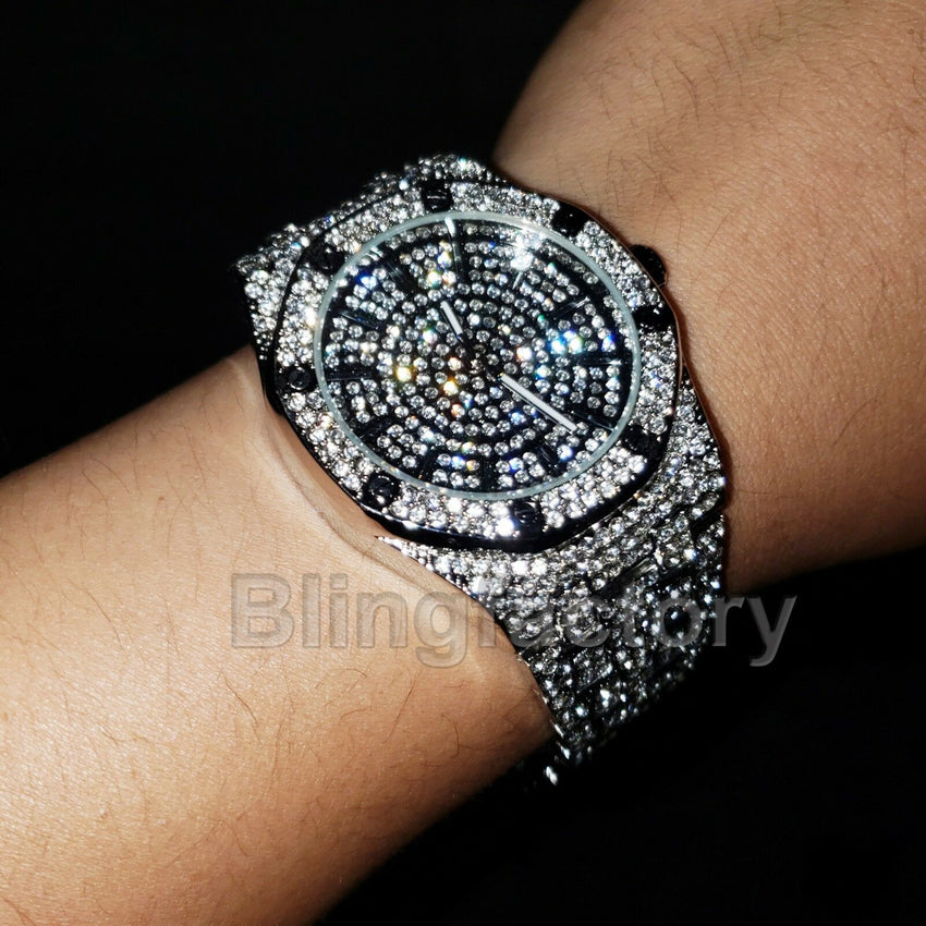 LUXURY ICED OUT WHITE GOLD PLATED LAB DIAMOND WATCH & XANAX NECKLACE COMBO SET