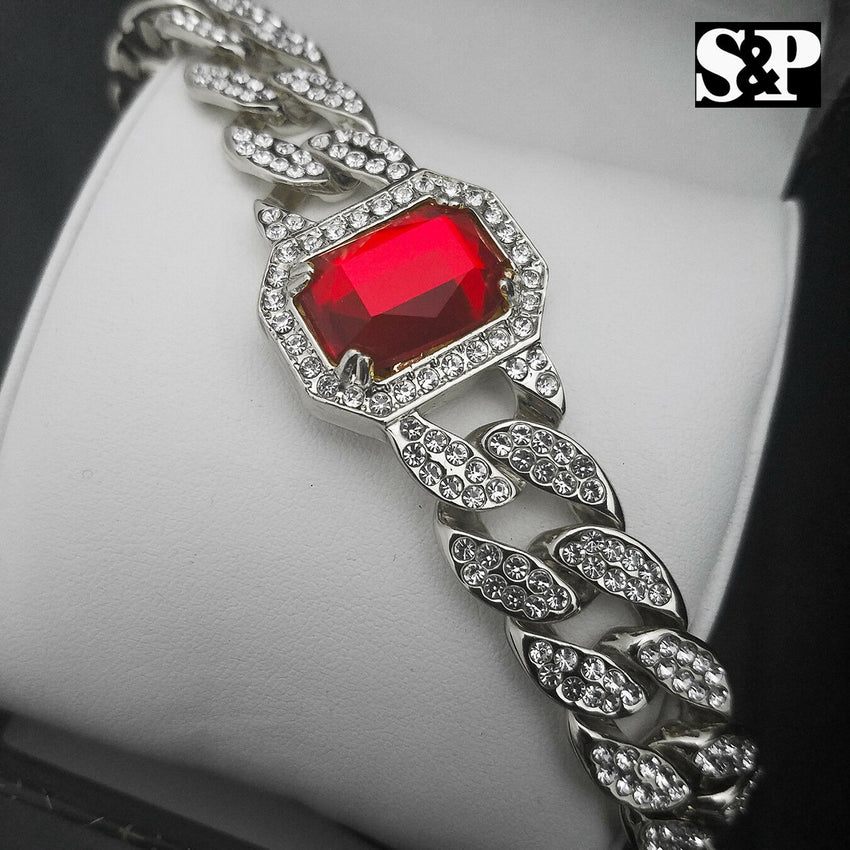 "White Gold PT Red Ruby 15mm 8.5"" Miami Cuban CZ Full Iced Out Rapper Bracelet"