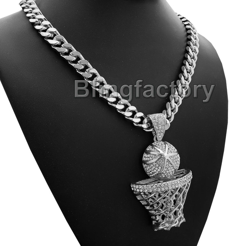 "Large Silver Basketball Rim Pendant 10mm 30"" Cuban Heavy Chain Hip Hop Necklace"