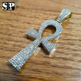 "New Hip Hop Ankh Pendant & 16"" Full Iced 1 ROW DIAMOND Tennis Choker Chain Set"