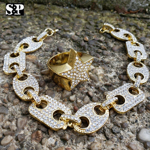 Hip Hop Iced Out Lab Diamond Gucci Chain Bracelet & Iced Star Ring Combo Set