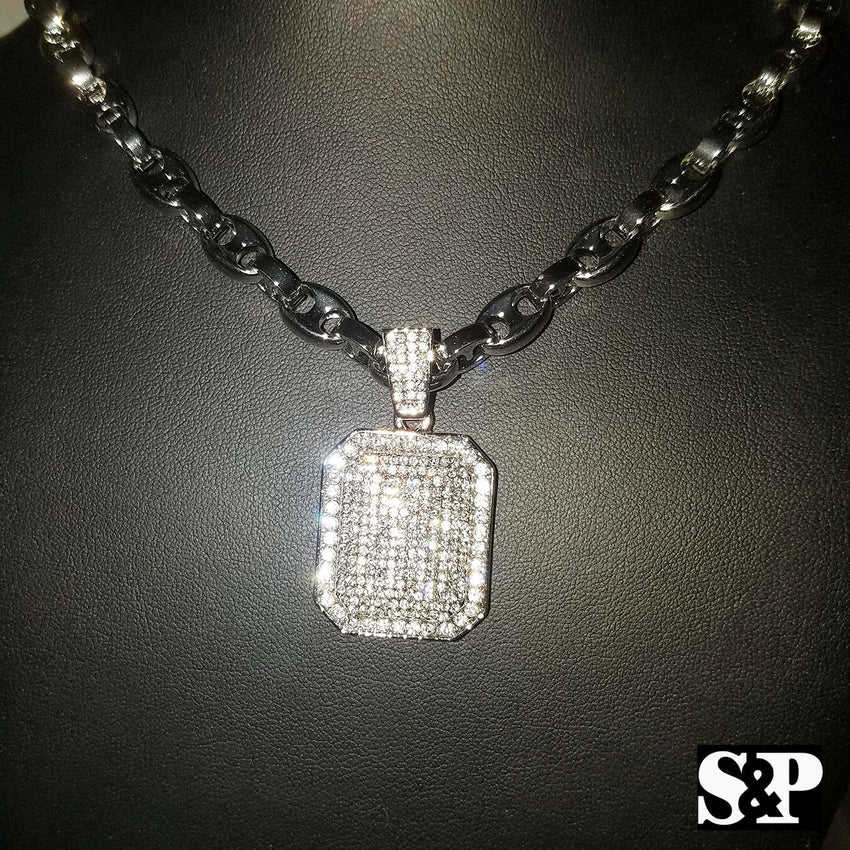 "Hip Hop Iced out Silver PT Lab Diamond Square Pendant & 24"" Gucci Chain Necklace"