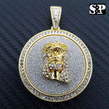 HIP HOP ICED OUT LAB DIAMOND GOLD PLATED JESUS FACE MEDALLION PENDANT