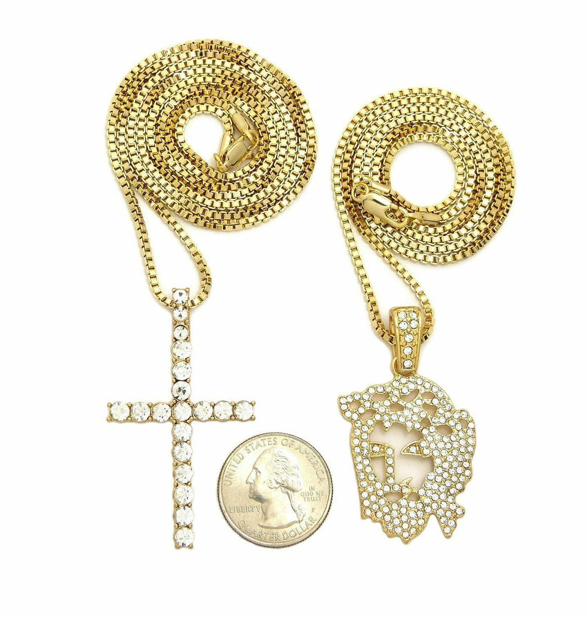"Iced Out Jesus face & Cross Pendant w/ 24"",30"" Box Chain Hip Hop 2 Necklace Set"