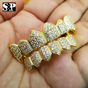 Gold Plated BRASS Hip Hop Iced Out Gold Tone Teeth Grillz Fang Top & Bottom Set