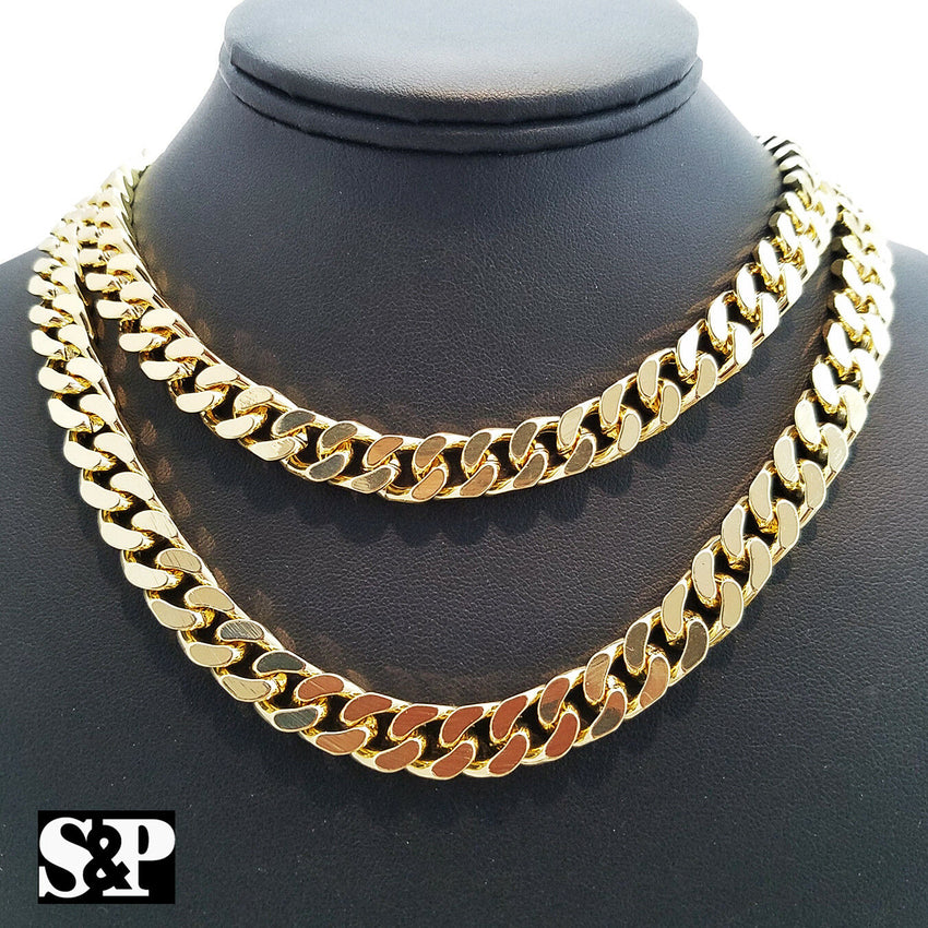 "Hip Hop Rapper's Gold Plated 10mm 18"", 20"" Miami Cuban Choker Chain Necklace"