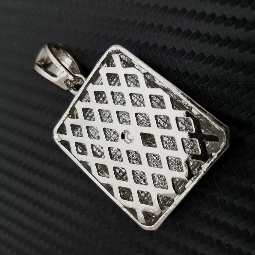 HIP HOP FULL ICED OUT LAB DIAMOND WHITE GOLD PLATED BLING LARGE SQUARE PENDANT