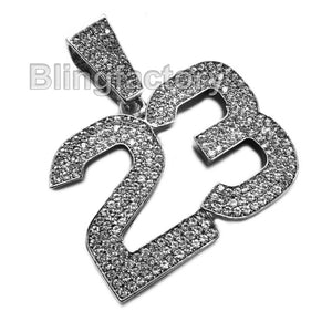 HIP HOP ICED OUT SILVER PLATED BLING LAB DIAMOND LARGE NUMBER 23 CHARM PENDANT