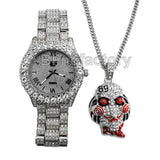 Iced Out 6ix9ine Saw Inspired Necklace & Hip Hop Gold plated Metal Watch Set
