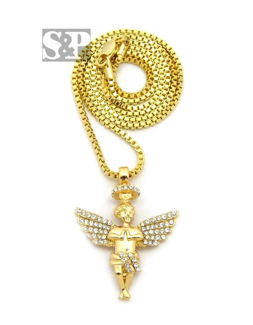 "HIP HOP ICED CZ GOLD PLATED FLYING ANGEL PENDANT & 24"" BOX CHAIN NECKLACE"