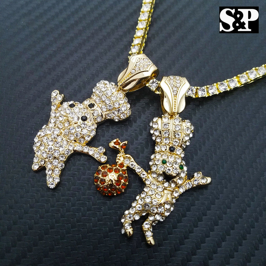 "Hip Hop 2 DOUGHBOY Pendant & 1 ROW Lab Diamond 18"" Tennis Choker Chain Combo Set"