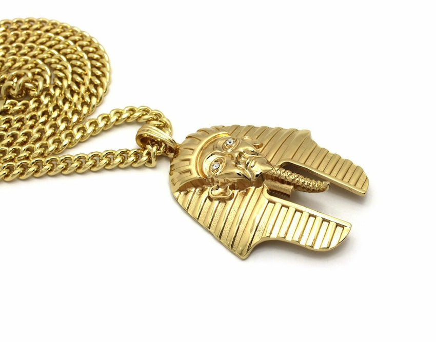 "14K Gold PT Egyptian Pharaoh King Tut Pendant W/ 6mm 30"" Cuban Chain Necklace"