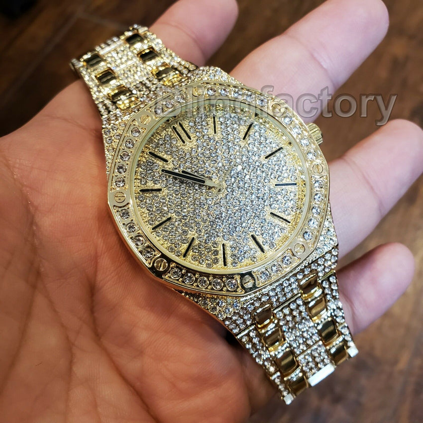 Men's Luxury Designer Style Bling Gold Plated Simulated Diamond Bracelet Watch