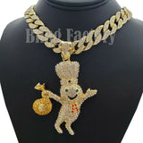 "Hip Hop Iced Doughboy Money Bag Pendant & 18"" Iced Cuban Choker Chain Necklace"
