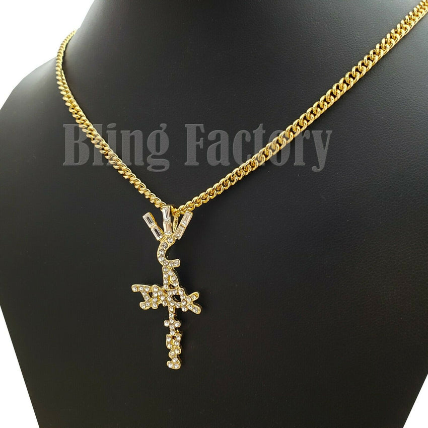 "Hip Hop Travis Scott Cactus Jack Cross Pendant 18"" 20"" 24"" Cuban Chain Necklace"