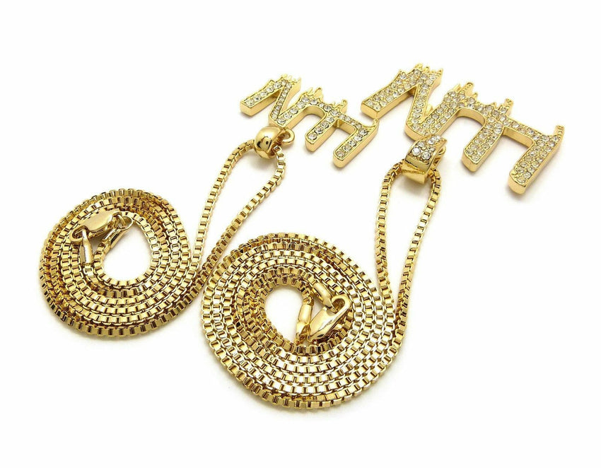 "Iced out Hip Hop Pave Small & Big LUV Pendant 20"",24"" Box Chain 2 Necklace Set"