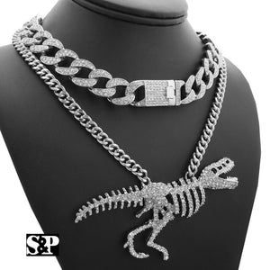 Hip Hop T-REX Skeleton Necklace & 18