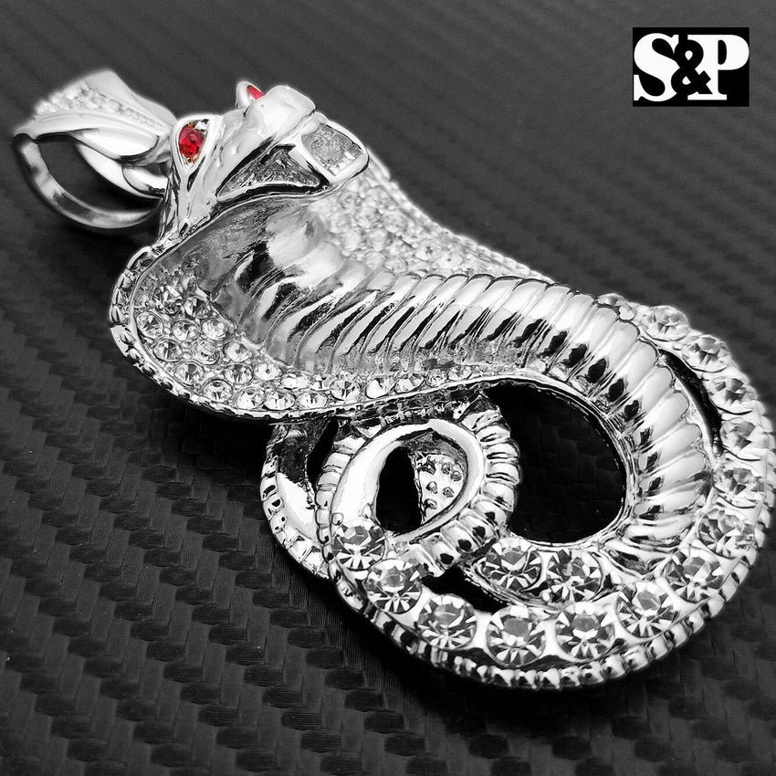 HIP HOP ICED OUT LAB DIAMOND WHITE GOLD PLATED RAPPER LARGE COBRA SNAKE PENDANT