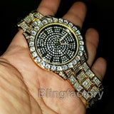 Men's Hip Hop Full Iced out Bling Gold PT Lil Pump Lab Diamond Metal Band Watch